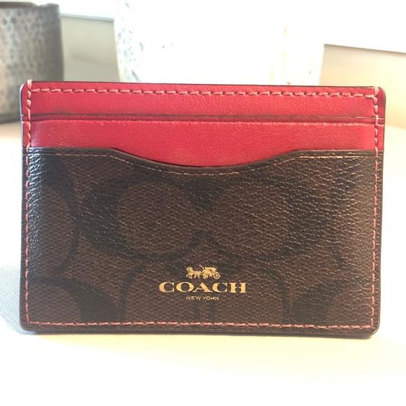 Coach Handbags - Coach card wallet - signature print / leather trim